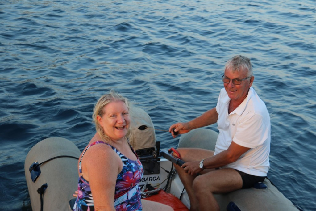 After swimming over for a chat and a glass of bubbles, Ric takes Sharon back to the Awatea to get ready for dinner