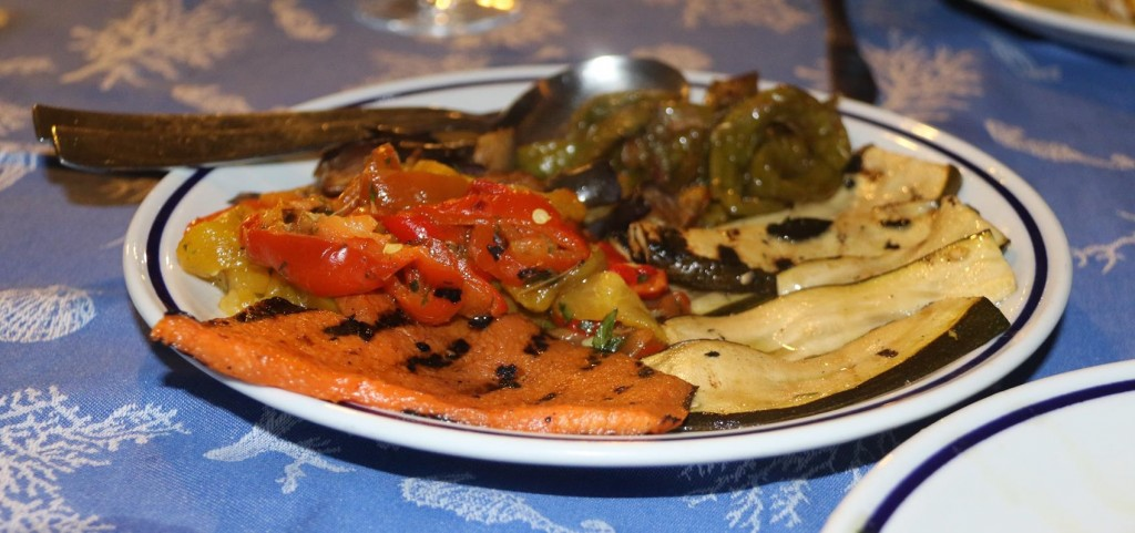We order grilled vegetables to accompany our fish