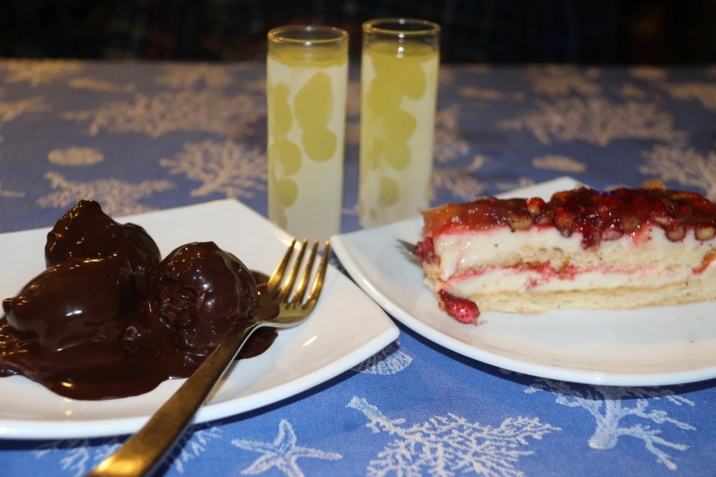 A couple of Salvatore's home made Limoncellos accompany two amazing desserts - what a way to finish a lovely dinner!