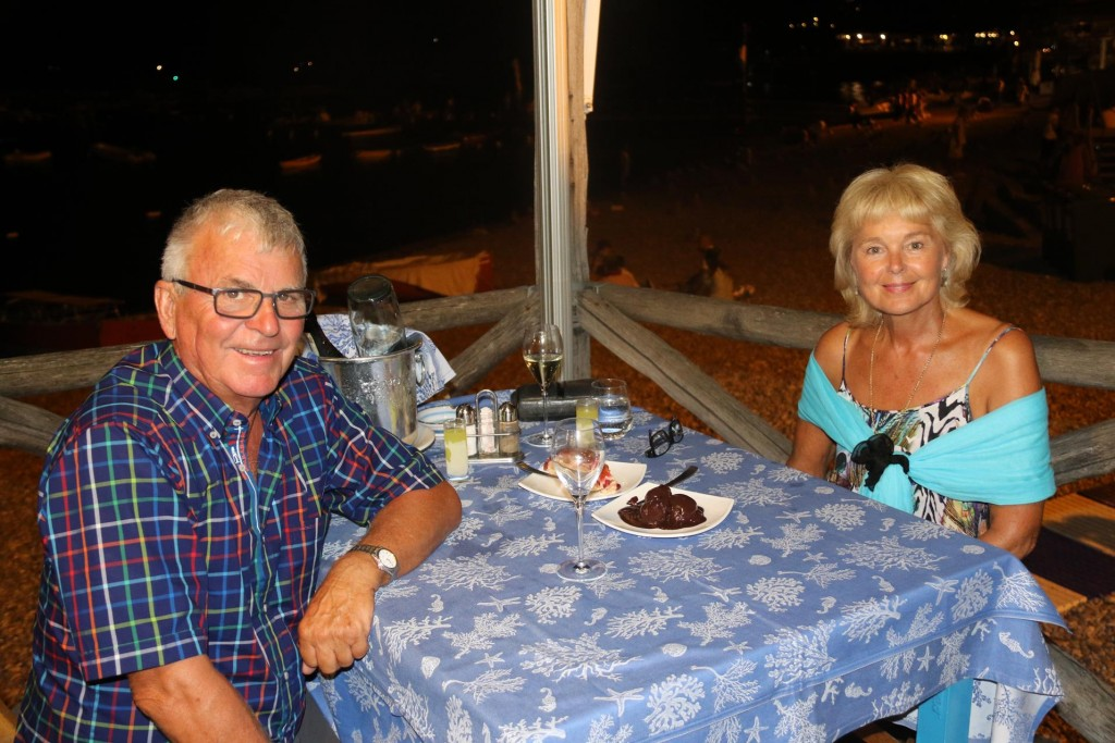 Tonight we were lucky enough to get a special table for two overlooking the beach and the water