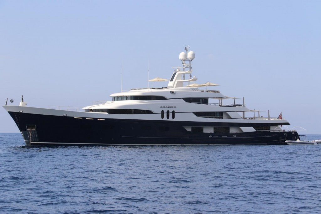 The Amadeus owned by Louis Vuitton was moored nearby last night