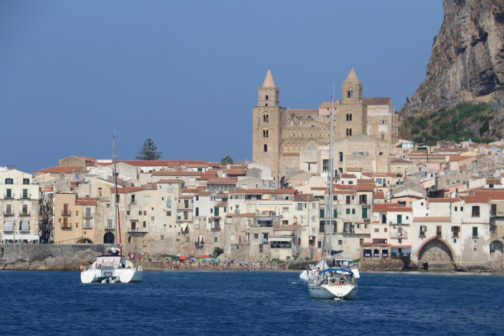 The Norman Cathedral built in the 12th Century dominates the vista of Cefalu