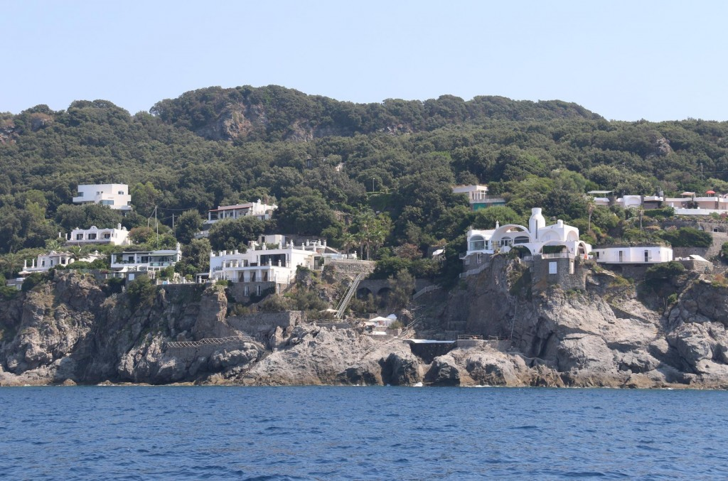 These amazing houses with swimming pools are built over the rocks on the extreme north west corner of Ischia