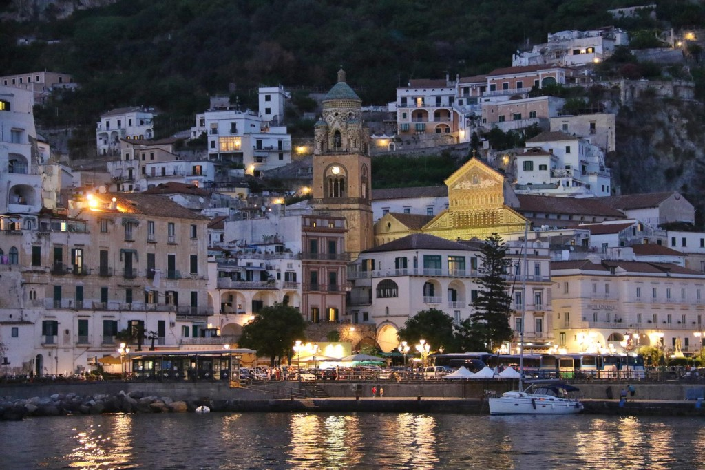 The amazing church in Amalfi town glows in the evening light