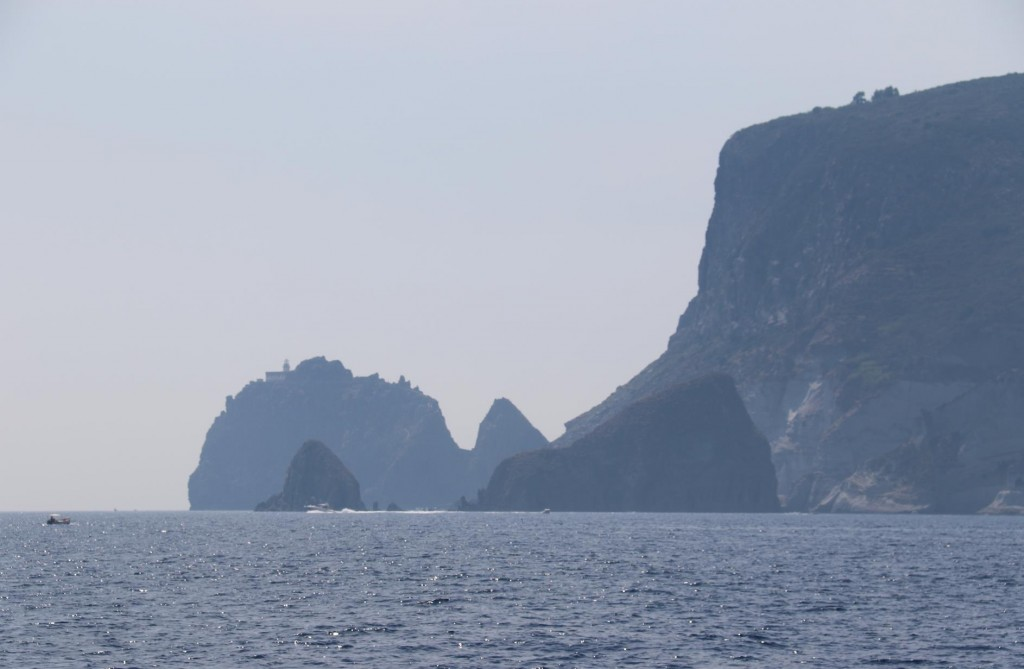 The rugged cliffs of the Ponza coastline