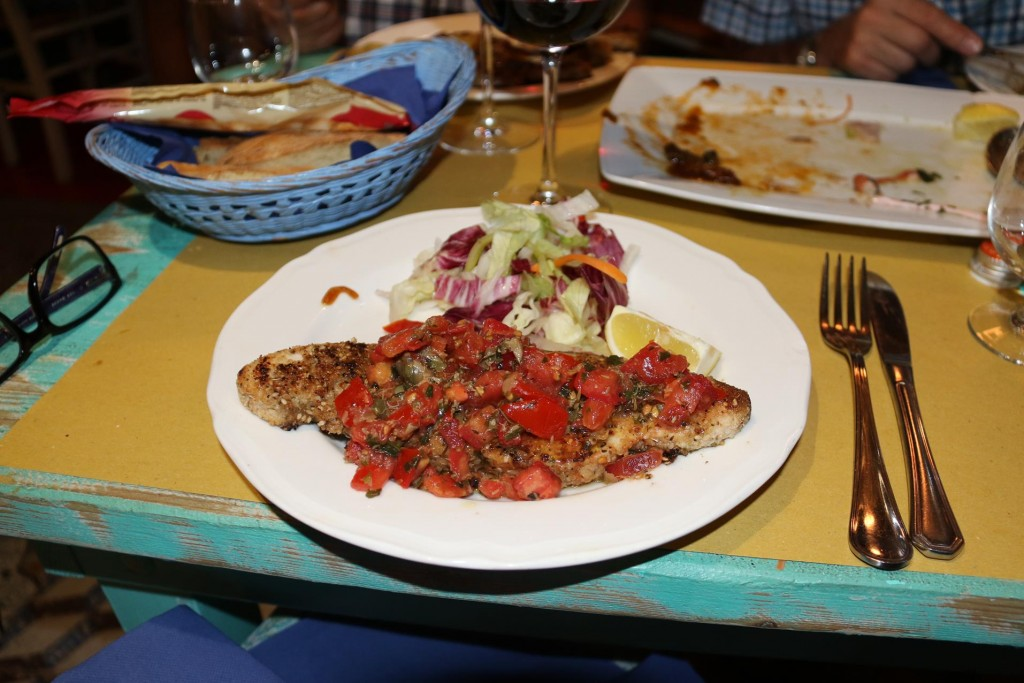 The rest of us had the fish with the delightful tomato, caper and olive sauce