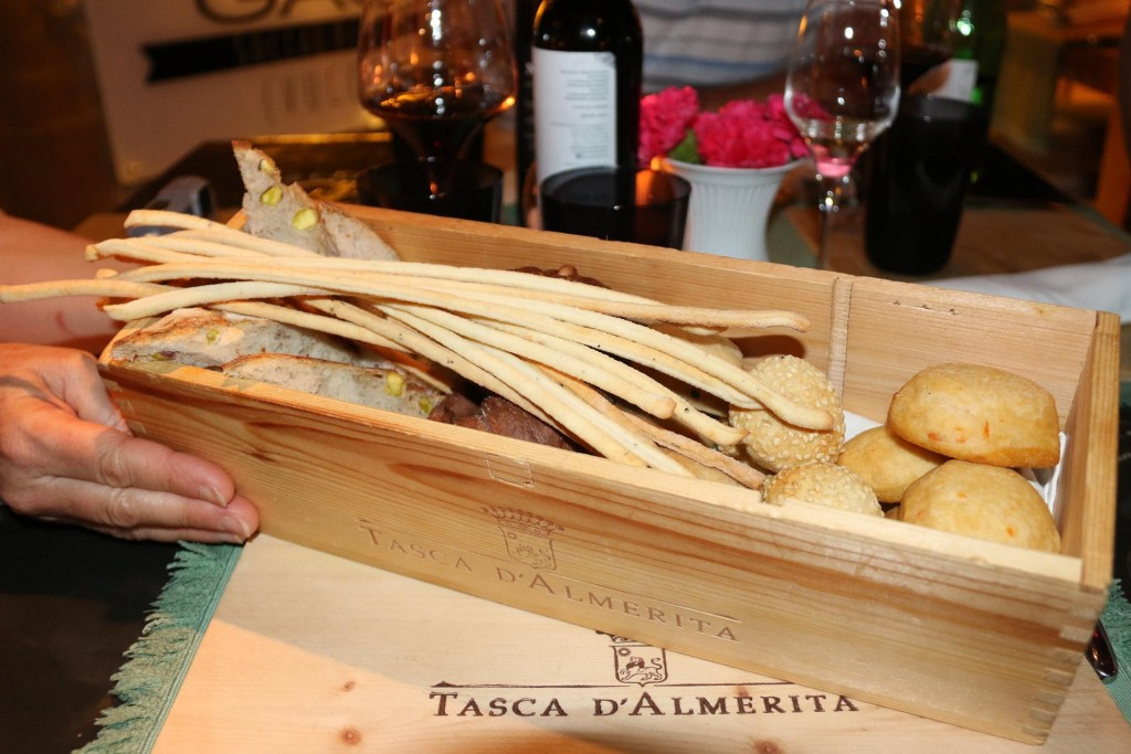 The delicious assortment of breads was presented in an attractive wooden box