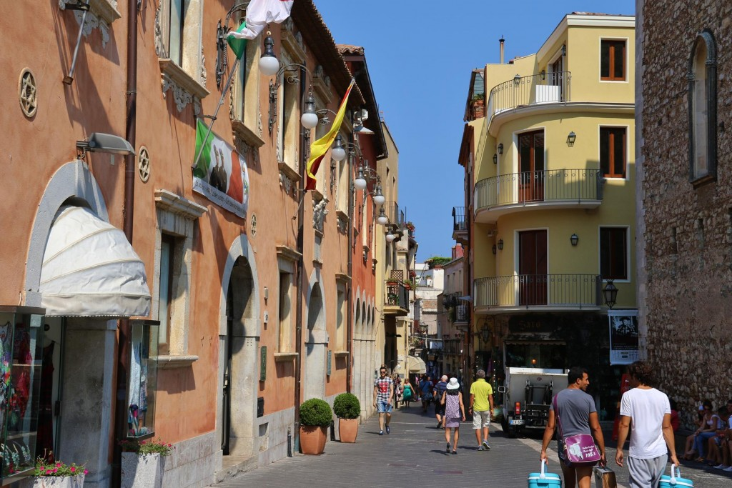 The Corso Umberto 1 is the main street of Taormina which is lined with shops, pasticcerie and cafes