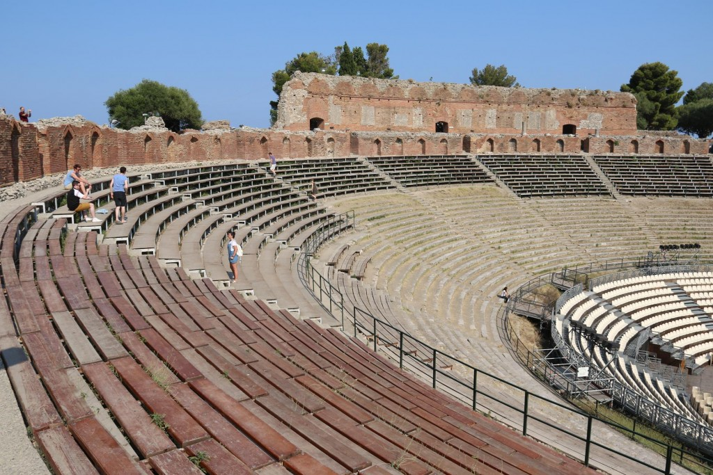 The ancient theatre in Taormina was first built in the 3rd Century BC and rebuilt by the Romans in the 2nd Century AD