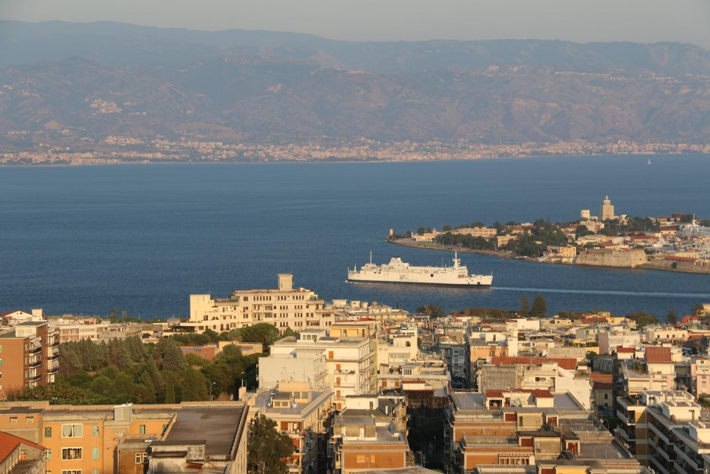 Looking over the famous Straits of Messina