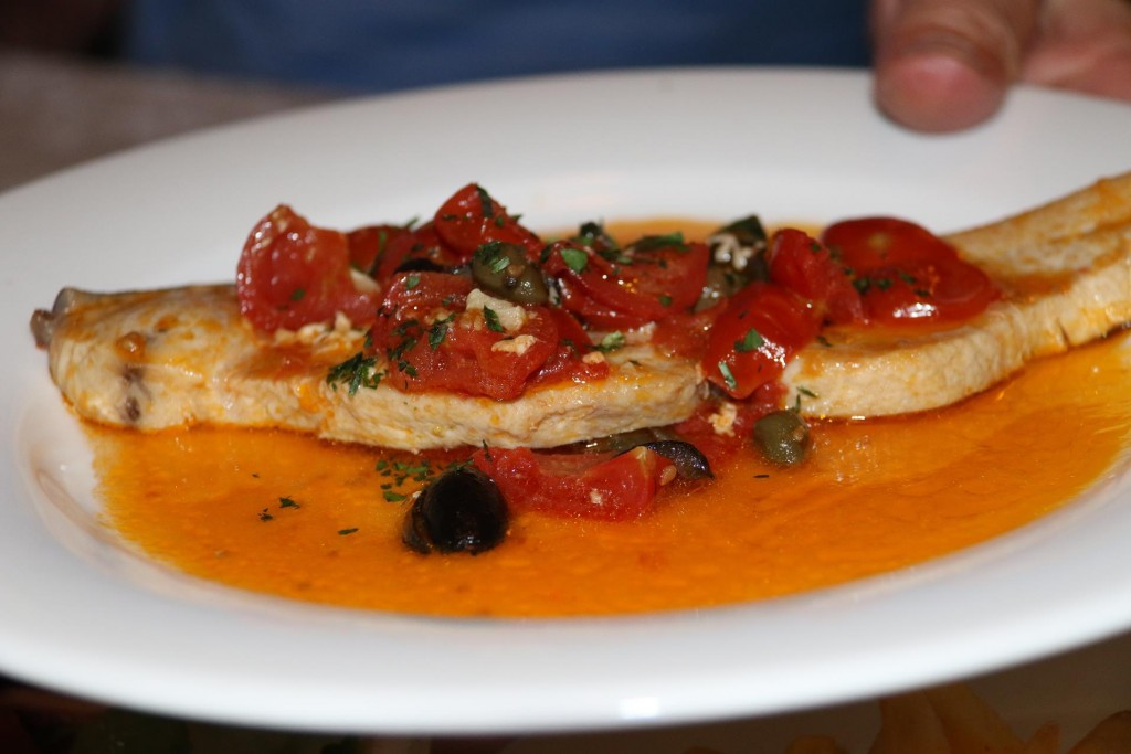 Don had the fish with the tomato and caper/olive sauce