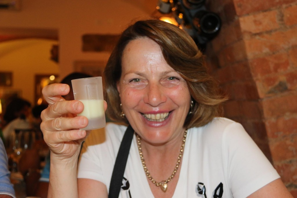 Susie enjoying the creamy lemoncello made in the house