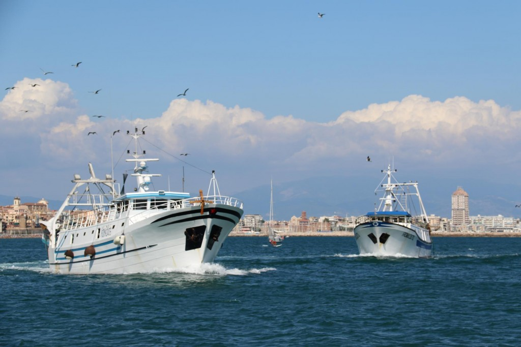 The fishing boats have to make a wide berth to enter the very shallow harbour entrance to Anzio