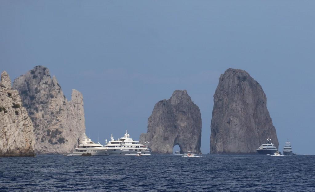 The amazing rock outcrops called Il Faraglioni in the south east corner of Capri