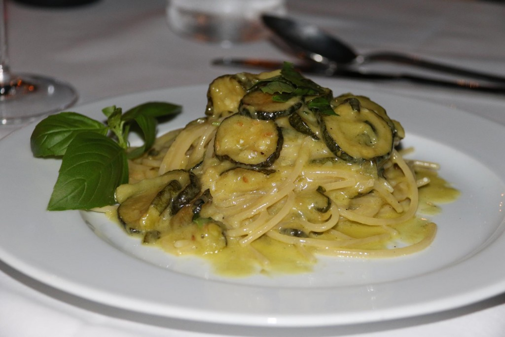 For secondi Ric ordered the spaghetti with the zucchini which is a popular dish of the area