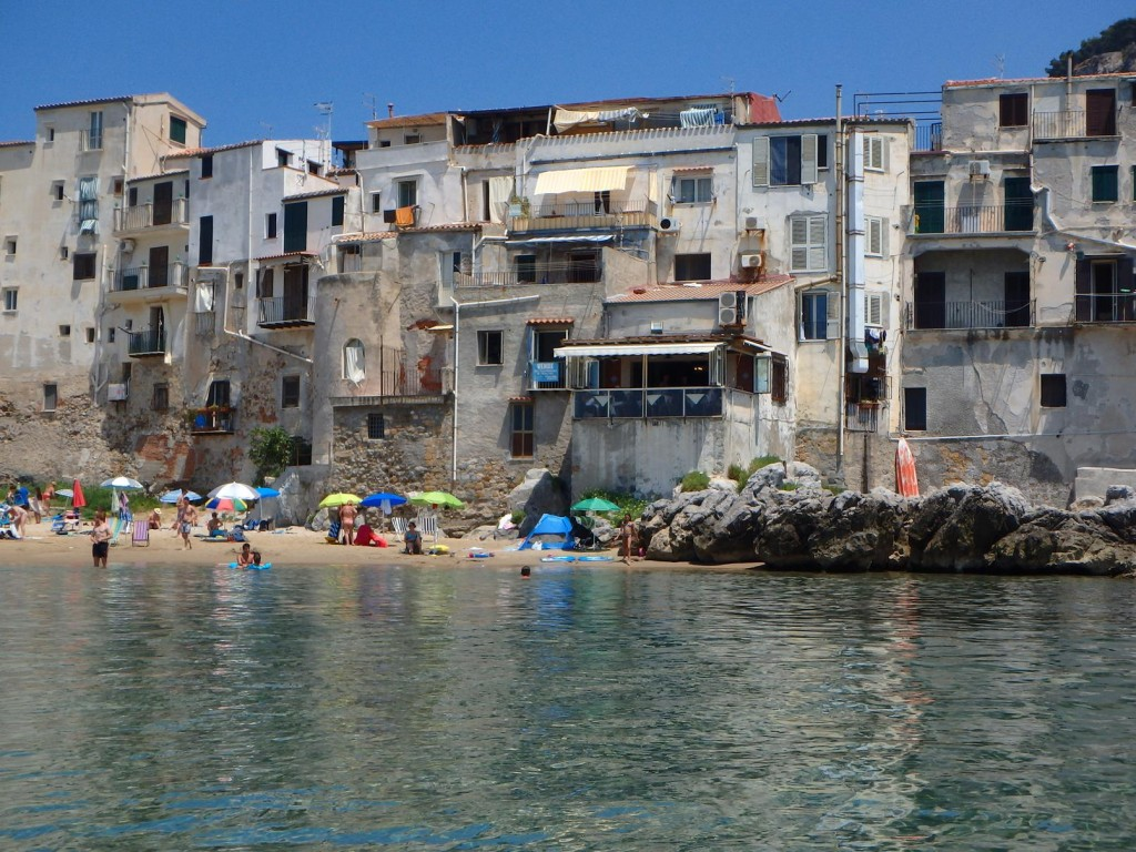 Susie and I have a long swim from the Tangaroa into the tiny beach in Cefalu