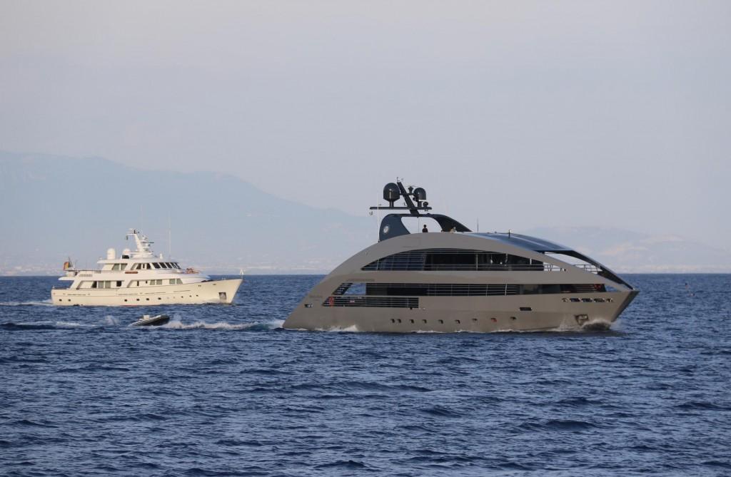 In 2011 we saw this unusual motor yacht in Croatia