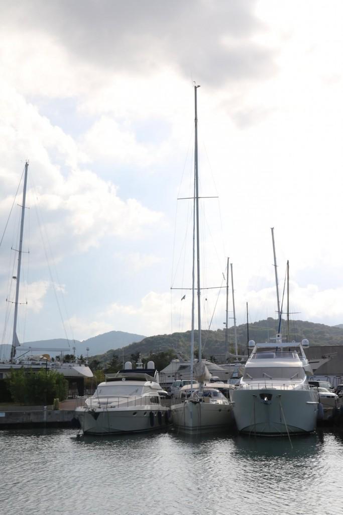 John's lovely yacht Awatea between the motor boats nearby in the marina