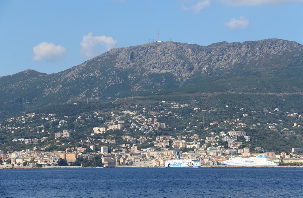 Our destination, the town of Bastia come into clearer view after 4 hours of motoring