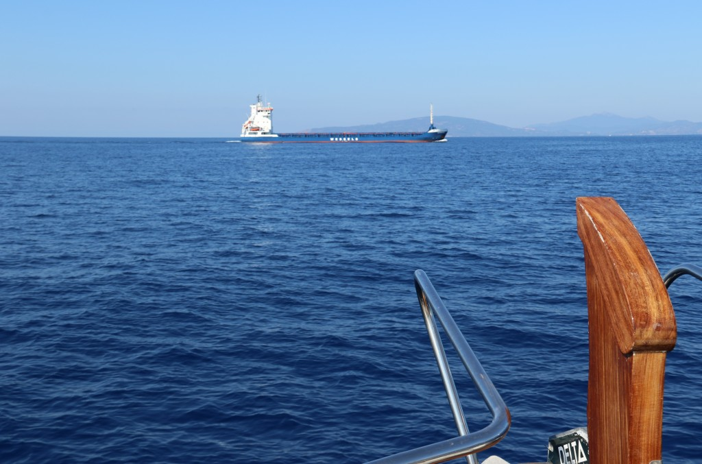 We sight the only vessel during our 15 km journey to Elba