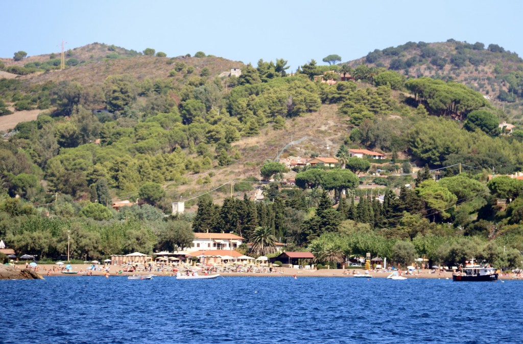 The popular Barbarossa Beach is east of the Fort and north of Azzurro