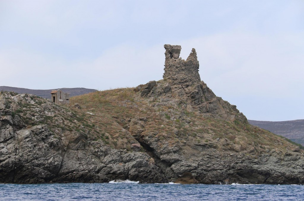 The ancient Genoese tower on one of the islets of Iles Finocchiarola north of Macinaggio