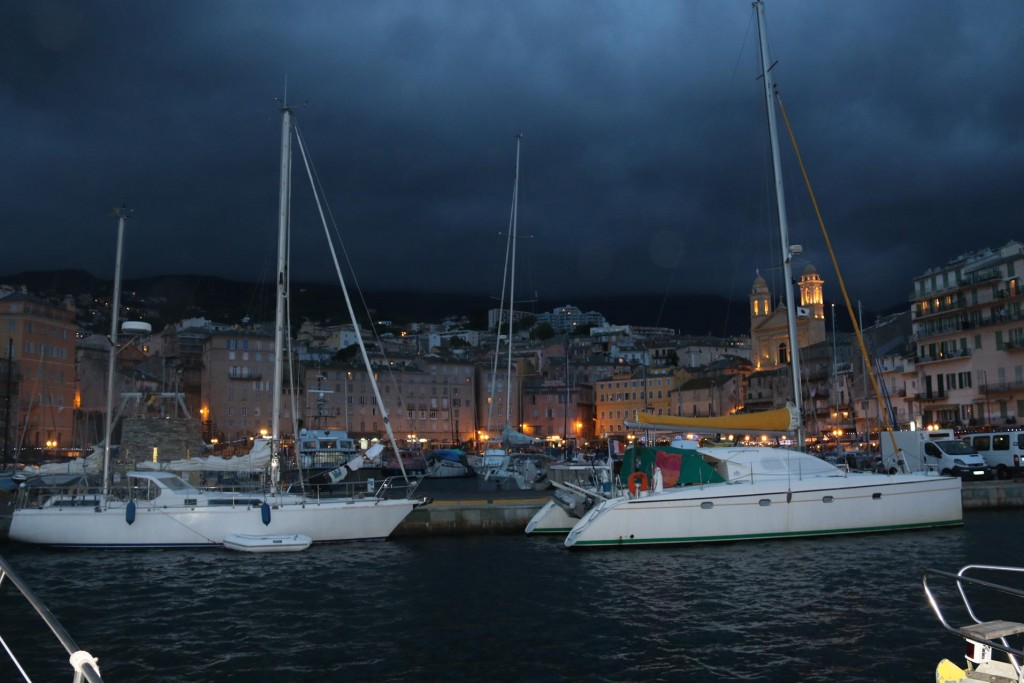 Yachts are secured along the fuel berth in the port tonight