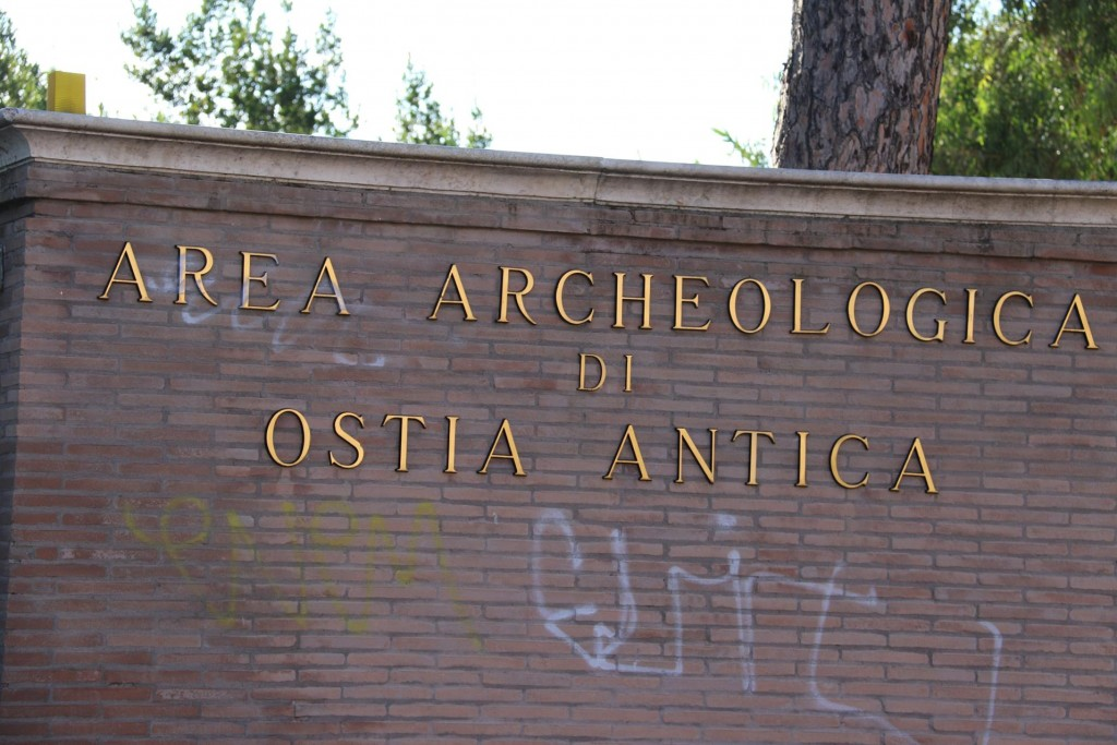 The graffitied Entrance to the ancient site of Ostia Antica