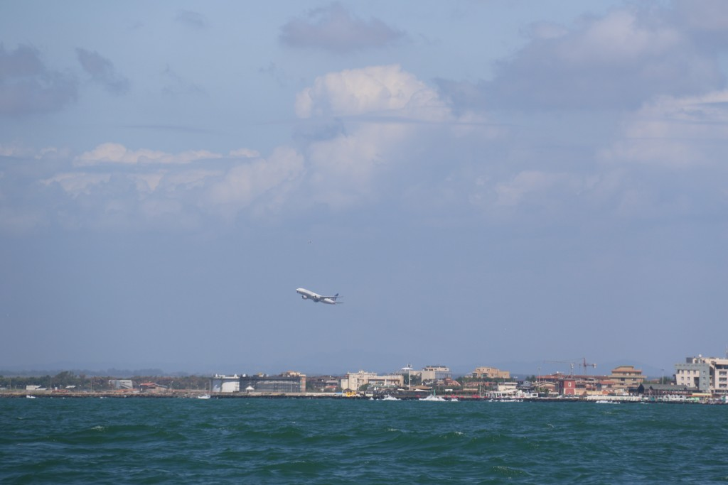 Every minute a plane takes off from Fuimicino Airport nearby