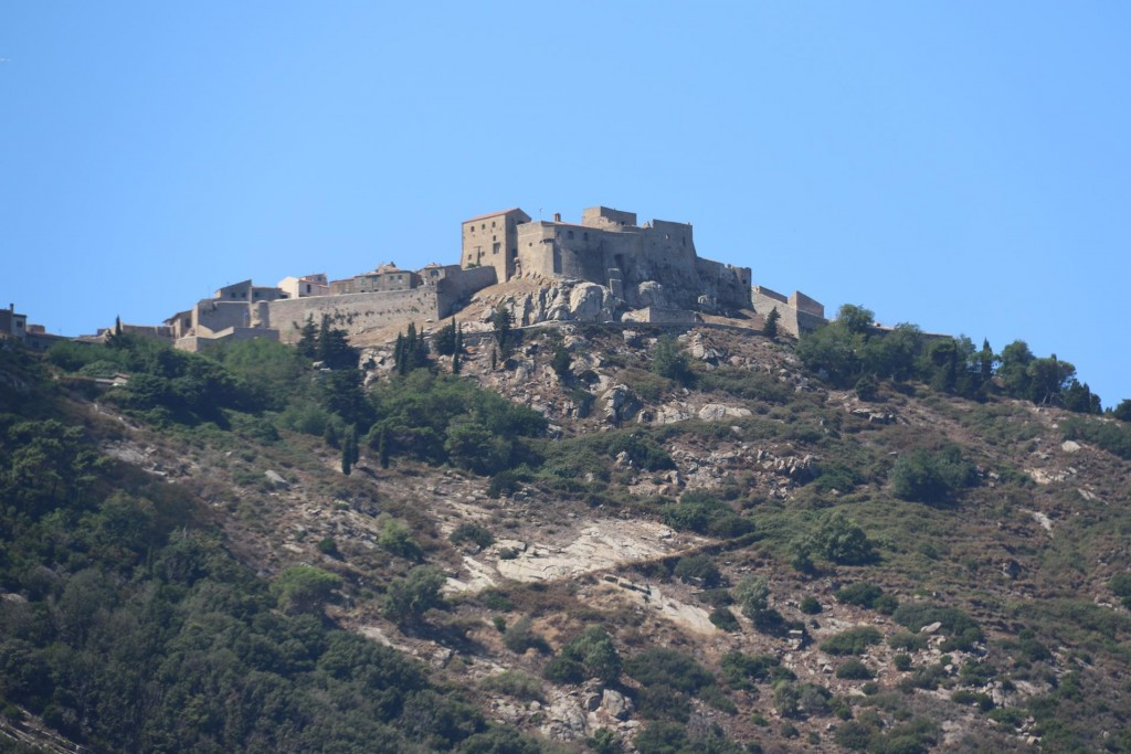 The Aragonese walled village of Giglio Castello high up on the side of the mountain is still inhabited