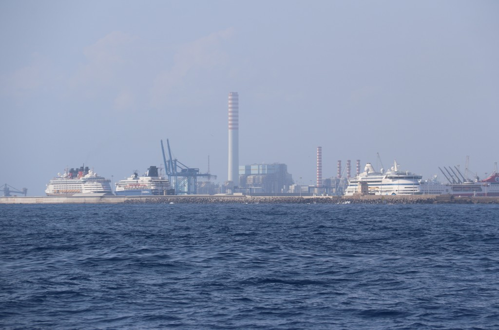 The marina we are booked in is just south of Civitavecchia, where all the cruise ships moor while in Rome