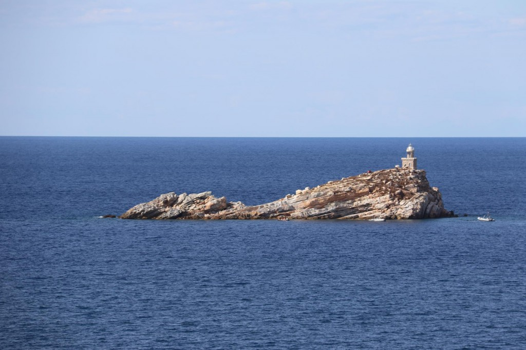 Scoglietto with it's tiny lighthouse close to the entrance to Portoferriao