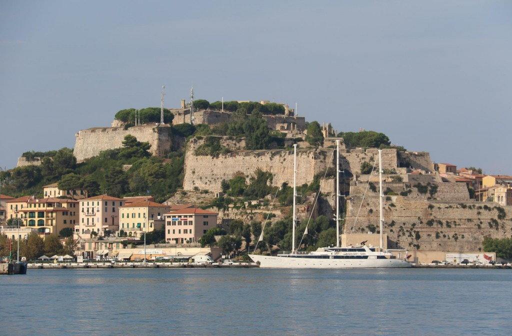 The huge Medicean Fortress, built on different levels, in the main harbour of Portoferraio