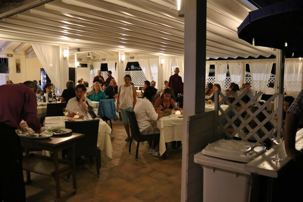 Later after the dinghy was dragged up on the beach we arrive at the Ristorante Iselba da Piero which has operated from it's position on the beach at Marina di Campo for many years