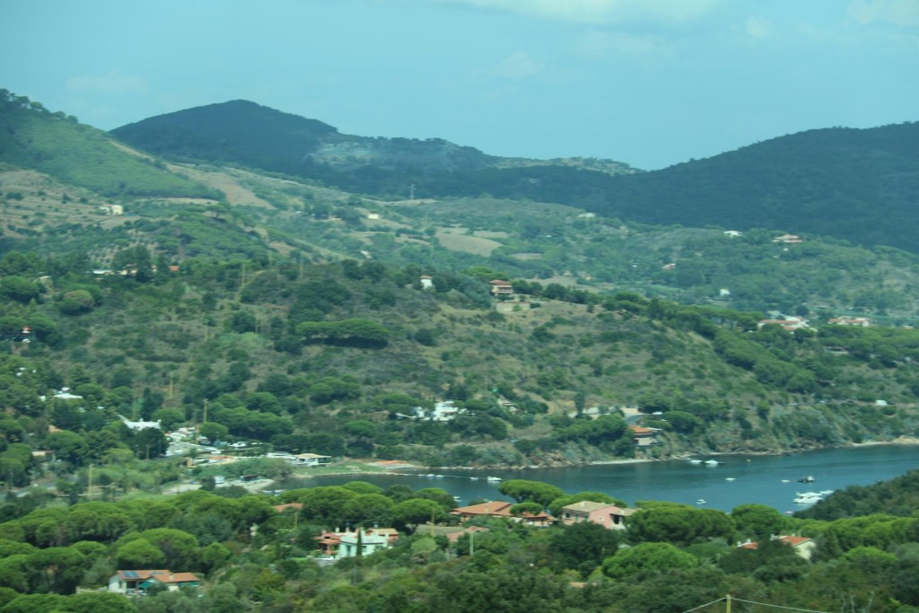 Looking back at Porto Azzurro as we take a taxi to town of Capoliveri nearby