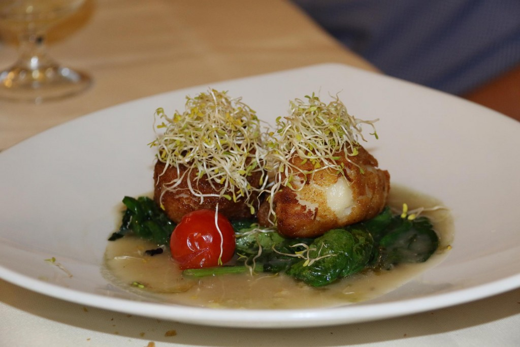 Michael had the amazing scallops filled with mozarella