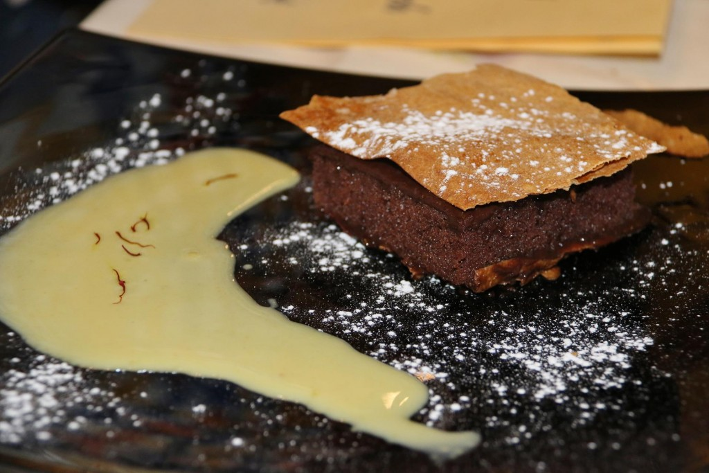 The chocolate flaky pastry dessert was also amazing