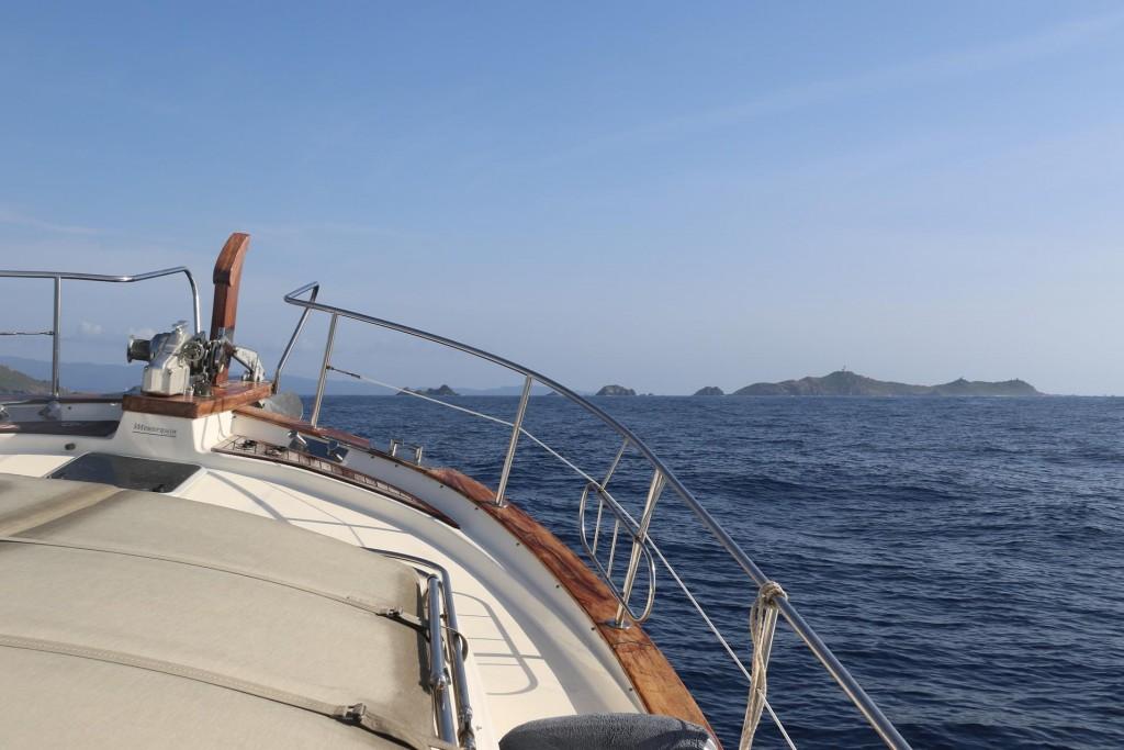 We approach the Iles Sanguinaires off Punta de la Parata