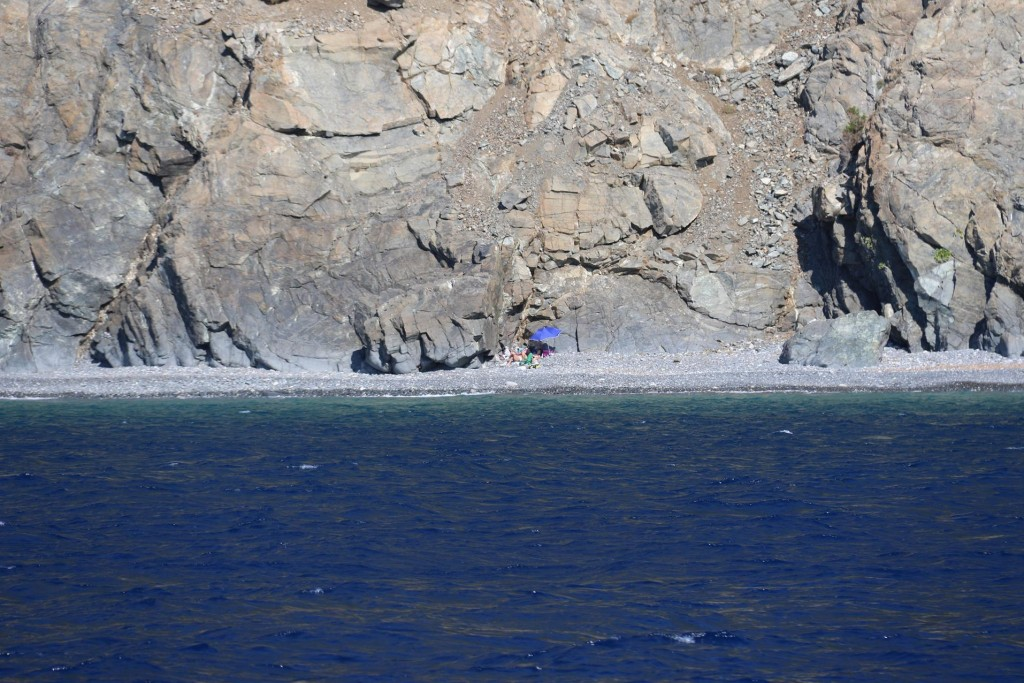 A couple have found a private spot on this deserted inaccessible beach