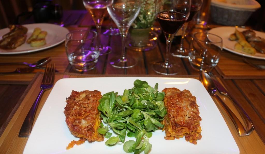 Rod chose the veal lasagne