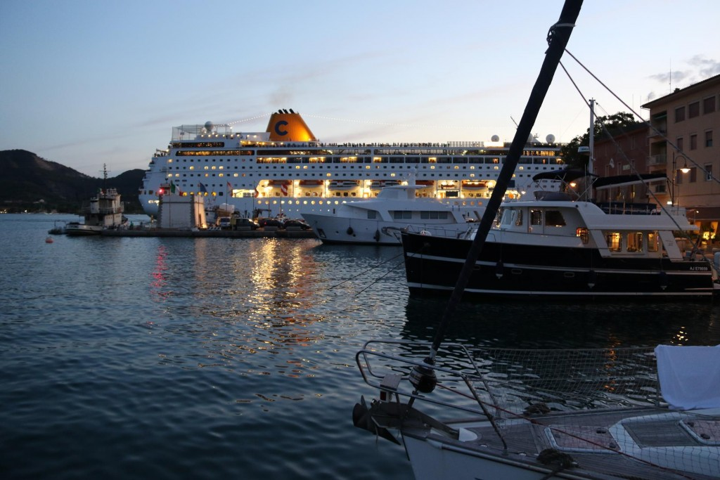 The cruise ship in port today makes her departure