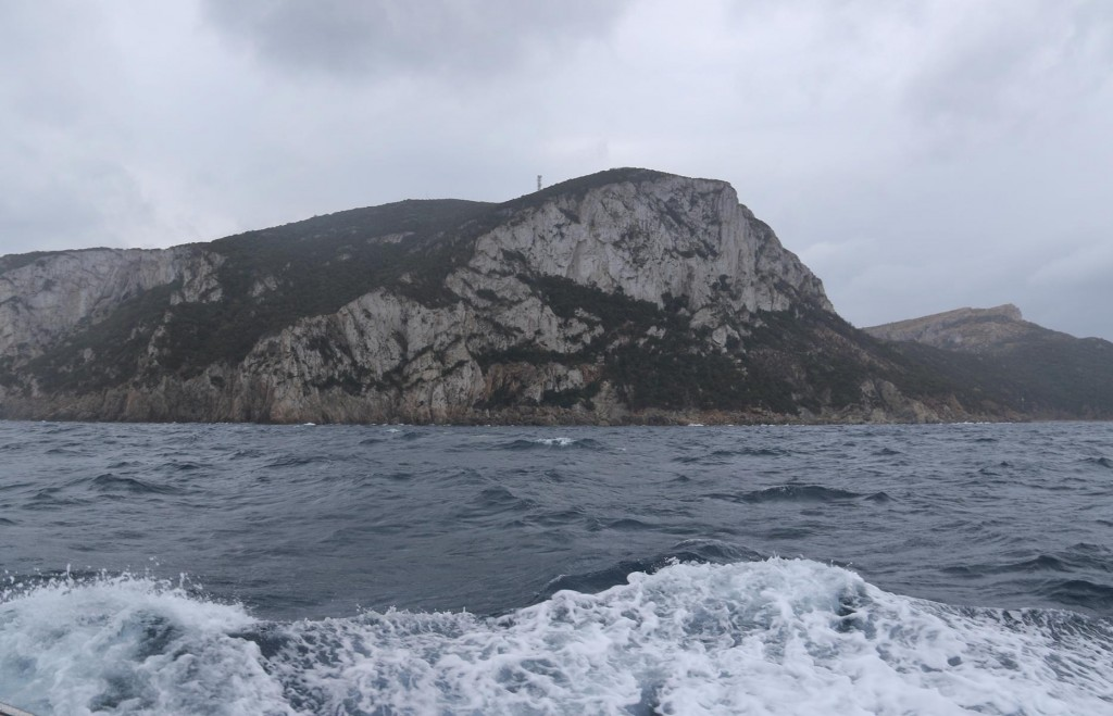 As we head out of Cala di Volpe the sea is still quite confused