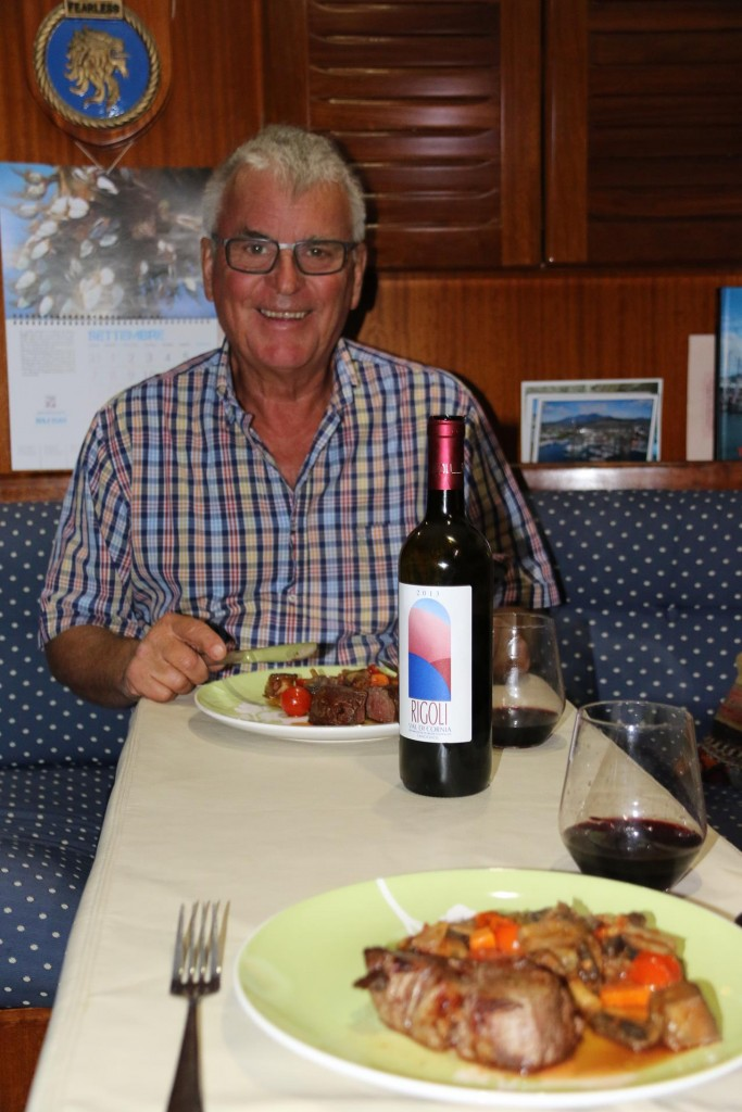 Ric cooks dinner for us after enoying a couple of hours with our new French sailing friends