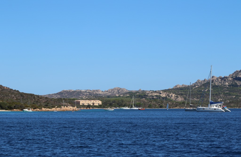 Porto Palma, a bay in the south of Caprera Island which has 2 sailing clubs is an excellent anchorage for us tonight