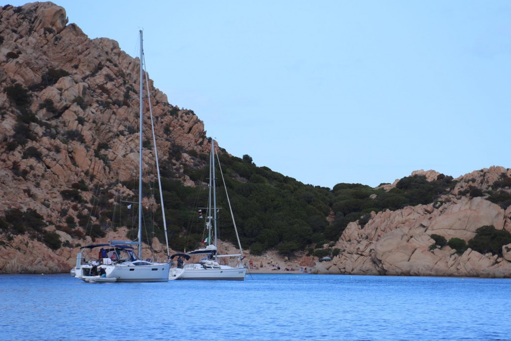This is very popular anchorage during high season however only a couple of yachts are moored here as we arrive