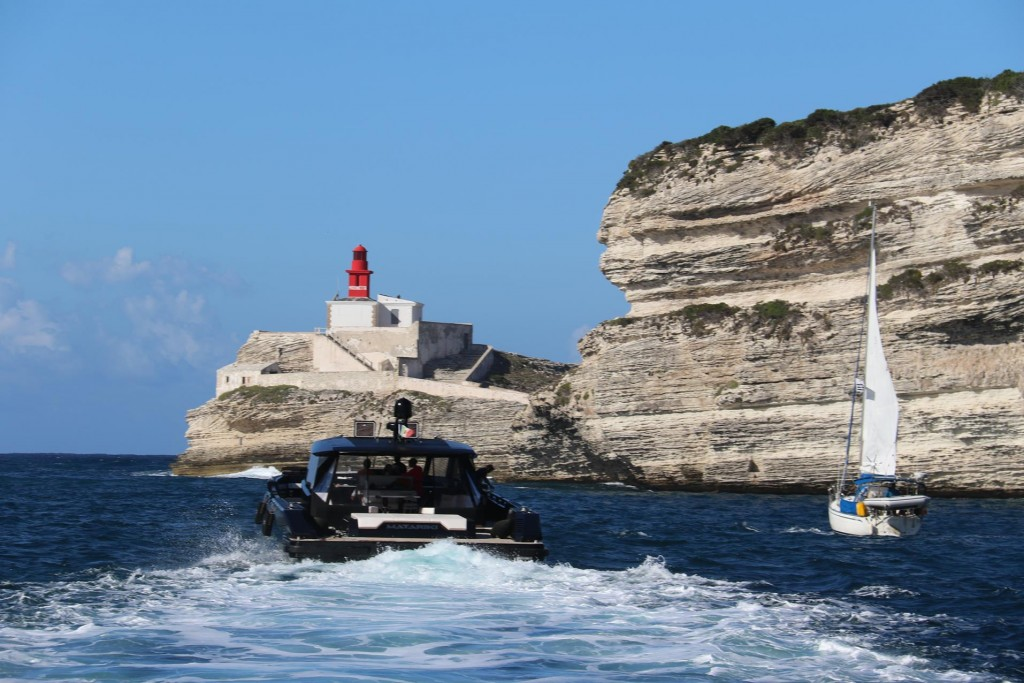 Heading out with company through the narrow entrance of the Bonifacio harbour