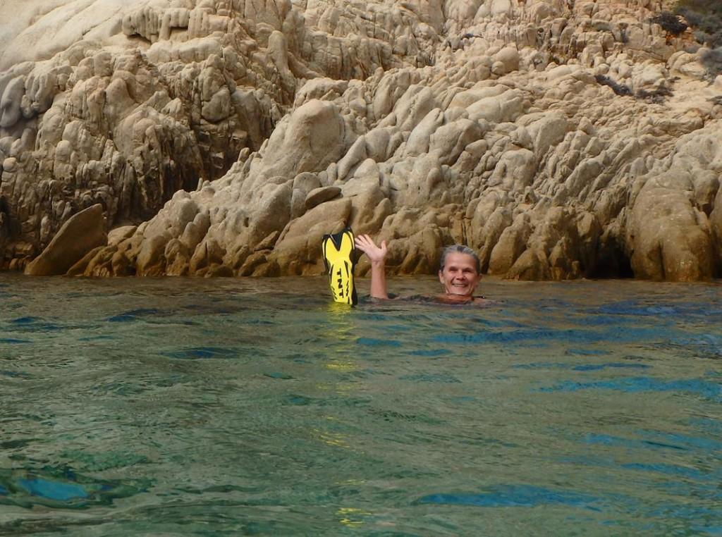 Lotta having her first swim