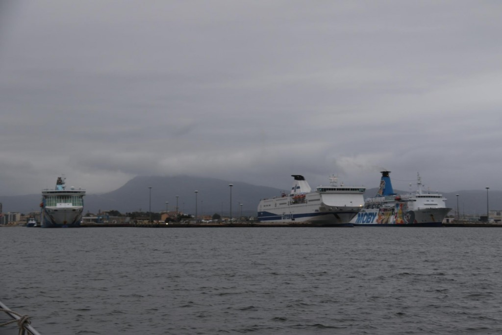 Several large ferries are in the Port of Olbia as we arrive