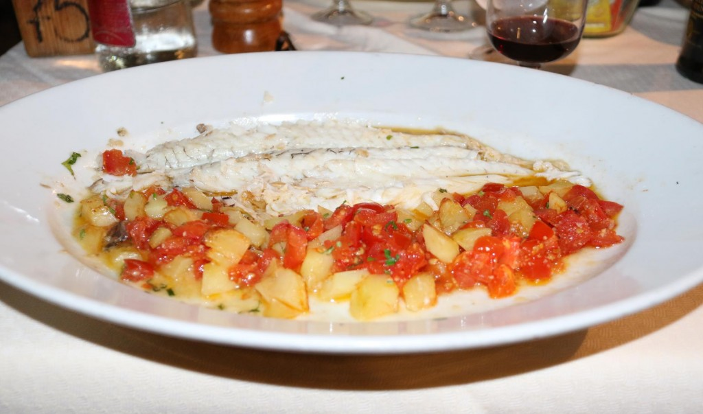 Seabass with tomatoes and potatoes - absolutely delicious