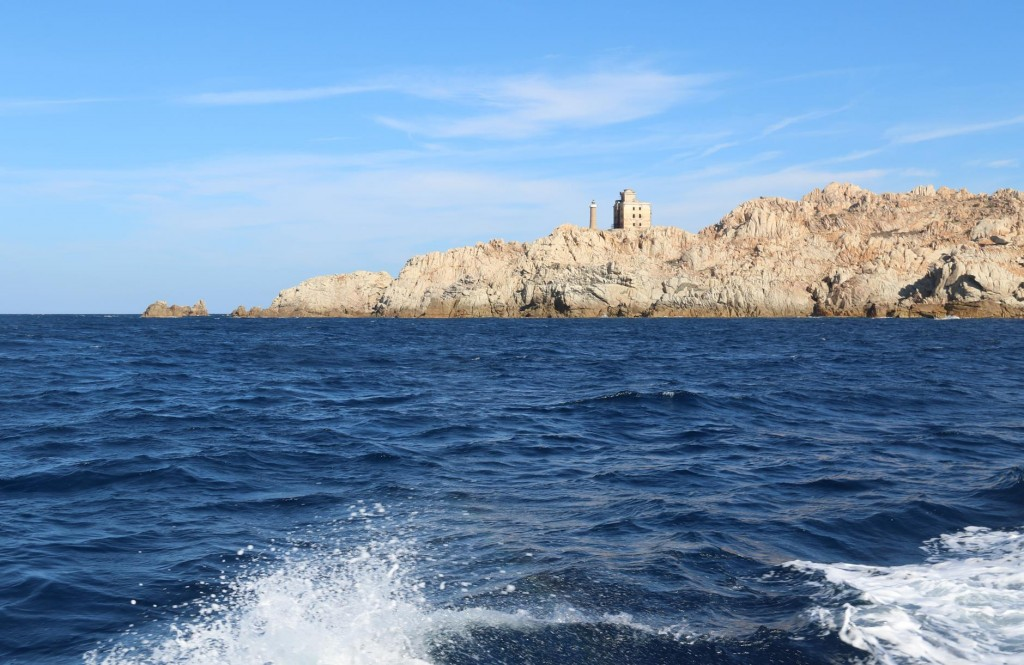 We leave the La Maddalena Archipelago looking back to the one of the most northern islands called Razzoli with it's lighthouse and light tower